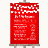 Red Watercolour Lights Rules Of The Dance Floor Customised Wedding Sign