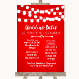 Red Watercolour Lights Rules Of The Wedding Customised Wedding Sign