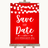 Red Watercolour Lights Save The Date Customised Wedding Sign