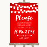 Red Watercolour Lights Share Your Wishes Customised Wedding Sign
