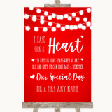 Red Watercolour Lights Sign a Heart Customised Wedding Sign