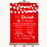 Red Watercolour Lights Signature Favourite Drinks Customised Wedding Sign