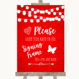 Red Watercolour Lights Signing Frame Guestbook Customised Wedding Sign