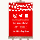 Red Watercolour Lights Social Media Hashtag Photos Customised Wedding Sign