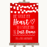 Red Watercolour Lights Stole Last Name Customised Wedding Sign