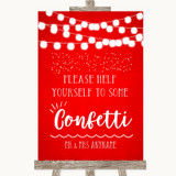 Red Watercolour Lights Take Some Confetti Customised Wedding Sign