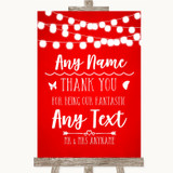 Red Watercolour Lights Thank You Bridesmaid Page Boy Best Man Wedding Sign