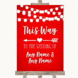 Red Watercolour Lights This Way Arrow Left Customised Wedding Sign
