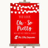 Red Watercolour Lights Toilet Get Out & Dance Customised Wedding Sign