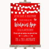 Red Watercolour Lights Wedpics App Photos Customised Wedding Sign