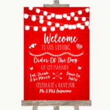 Red Watercolour Lights Welcome Order Of The Day Customised Wedding Sign