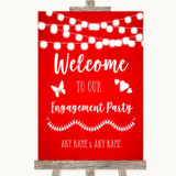 Red Watercolour Lights Welcome To Our Engagement Party Customised Wedding Sign