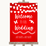 Red Watercolour Lights Welcome To Our Wedding Customised Wedding Sign