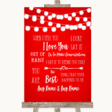 Red Watercolour Lights When I Tell You I Love You Customised Wedding Sign