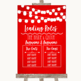 Red Watercolour Lights Who's Who Leading Roles Customised Wedding Sign