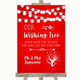Red Watercolour Lights Wishing Tree Customised Wedding Sign