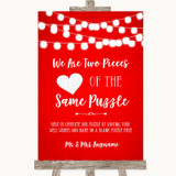Red Watercolour Lights Puzzle Piece Guest Book Customised Wedding Sign