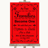 Red As Families Become One Seating Plan Customised Wedding Sign