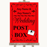 Red Card Post Box Customised Wedding Sign
