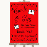 Red Cards & Gifts Table Customised Wedding Sign
