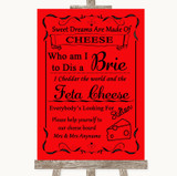 Red Cheese Board Song Customised Wedding Sign
