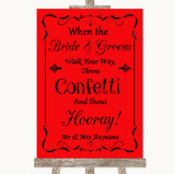 Red Confetti Customised Wedding Sign