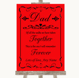 Red Dad Walk Down The Aisle Customised Wedding Sign
