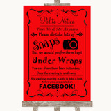 Red Don't Post Photos Facebook Customised Wedding Sign