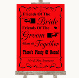 Red Friends Of The Bride Groom Seating Customised Wedding Sign