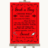Red Grab A Bag Candy Buffet Cart Sweets Customised Wedding Sign