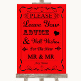 Red Guestbook Advice & Wishes Gay Customised Wedding Sign