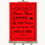 Red Guestbook Advice & Wishes Lesbian Customised Wedding Sign