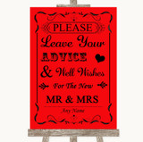 Red Guestbook Advice & Wishes Mr & Mrs Customised Wedding Sign