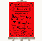 Red Hankies And Tissues Customised Wedding Sign