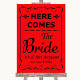 Red Here Comes Bride Aisle Sign Customised Wedding Sign