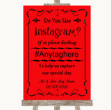 Red Instagram Photo Sharing Customised Wedding Sign
