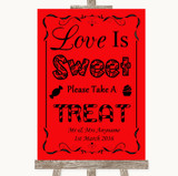 Red Love Is Sweet Take A Treat Candy Buffet Customised Wedding Sign
