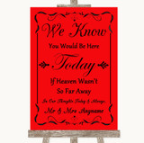 Red Loved Ones In Heaven Customised Wedding Sign