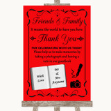 Red Photo Guestbook Friends & Family Customised Wedding Sign