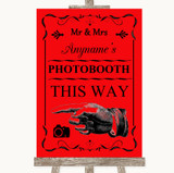 Red Photobooth This Way Left Customised Wedding Sign