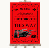 Red Photobooth This Way Right Customised Wedding Sign