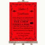 Red Pick A Prop Photobooth Customised Wedding Sign