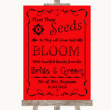 Red Plant Seeds Favours Customised Wedding Sign