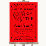 Red Puzzle Piece Guest Book Customised Wedding Sign