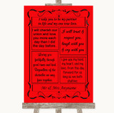 Red Romantic Vows Customised Wedding Sign