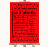 Red Rules Of The Dancefloor Customised Wedding Sign