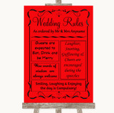 Red Rules Of The Wedding Customised Wedding Sign