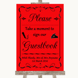 Red Take A Moment To Sign Our Guest Book Customised Wedding Sign