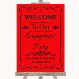 Red Welcome To Our Engagement Party Customised Wedding Sign