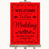Red Welcome To Our Wedding Customised Wedding Sign